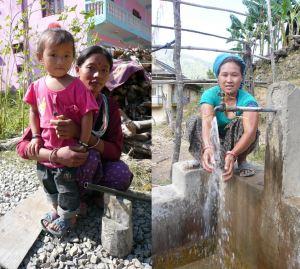 Women in Kotgaun VDC demonstrating handwashing